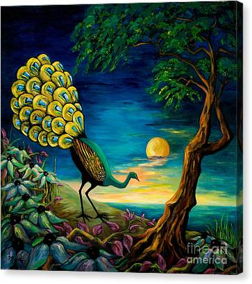 Peacock Strolls On The Beach Canvas Print by Larry Martin