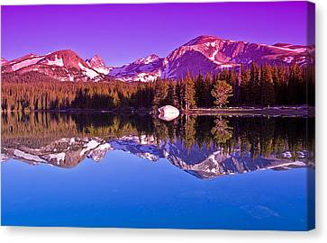 Peaks In The Mirror Canvas Print by Brian Kerls