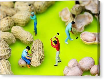 Peanut Workers Little People On Food Canvas Print by Paul Ge