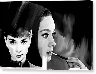 Audrey Hepburn Pearl  Canvas Print by Iconic Images Art Gallery David Pucciarelli