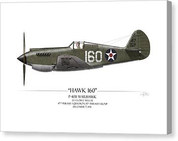 Pearl Harbor P-40 Warhawk - White Background Canvas Print by Craig Tinder