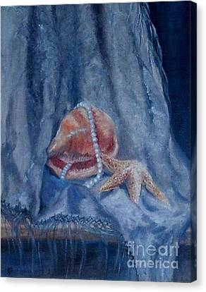 Pearls And Shells Canvas Print by Irene Pomirchy
