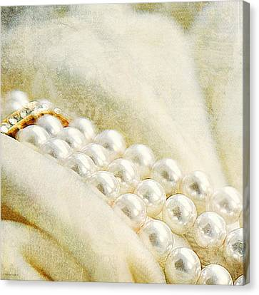 Pearls On White Velvet Canvas Print by Theresa Tahara