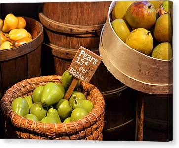 Pears - 15 Cents Per Basket Canvas Print by Christine Till