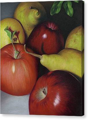 Pears And Apples Canvas Print by Natasha Denger