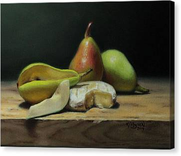 Pears And Cheese Canvas Print by Brianne Kirbyson