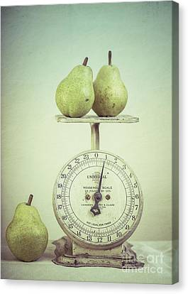 Pears And Kitchen Scale Still Life Canvas Print by Edward Fielding