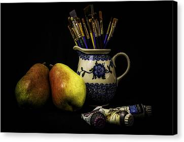 Pears And Paints Still Life Canvas Print by Jon Woodhams