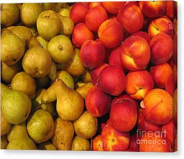 Pears And Peaches. Fresh Market Series Canvas Print by Ausra Huntington nee Paulauskaite