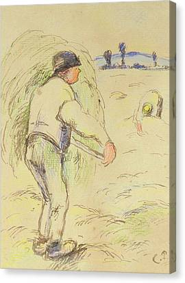 Peasants Haymaking Canvas Print by Camille Pissarro