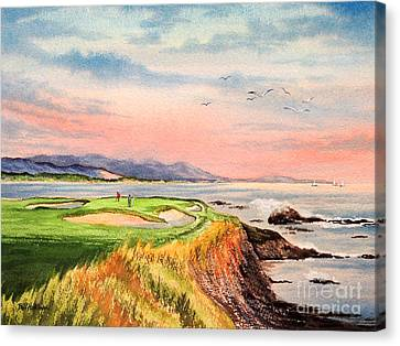 Pebble Beach Golf Course Hole 7 Canvas Print by Bill Holkham