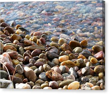 Pebbles On The Shore Canvas Print by Leone Lund