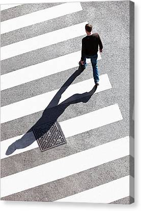 Pedestrain Crossing The Street On Zebra Canvas Print by Panoramic Images