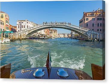 Pedestrian Footbridge Crossing Canvas Print by Mats Silvan