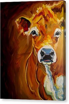 Peek Cow Canvas Print by Diane Whitehead