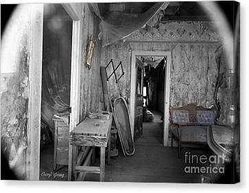 Peeking In The Old Mortuary Canvas Print by Cheryl Young