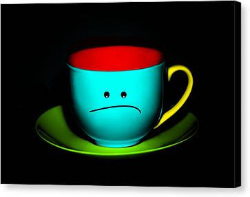 Peeved Colorful Cup And Saucer Canvas Print by Natalie Kinnear