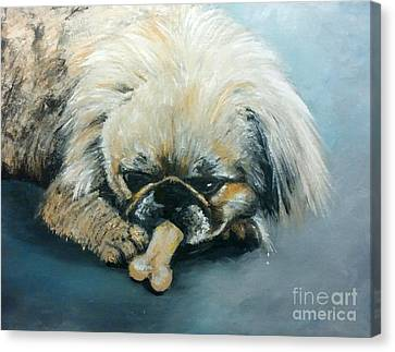 Pekinese And The Bone Canvas Print by Isabella Abbie Shores