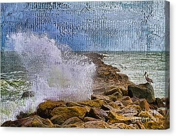 Pelican Pier Perch Canvas Print by Deborah Benoit