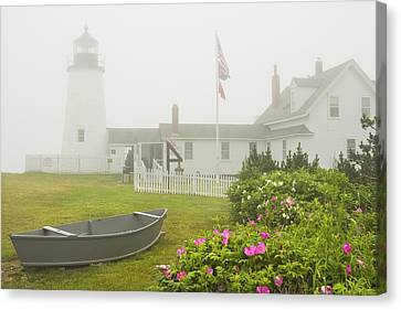 Pemaquid Point Lighthouse In Fog Maine Prints Canvas Print by Keith Webber Jr