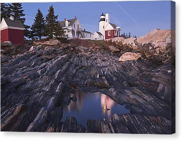 Pemaquid Point Lighthouse Tide Pool Reflection On Maine Coast Canvas Print by Keith Webber Jr