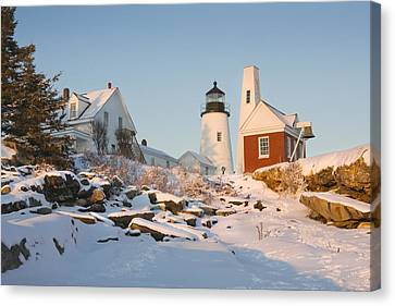 Pemaquid Point Lighthouse Winter In Maine  Canvas Print by Keith Webber Jr