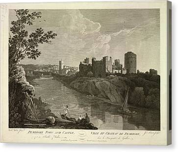 Pembroke Town And Castle Canvas Print by British Library
