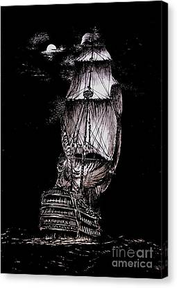 Pen And Ink Drawing Of Ghost Boat In Black And White Canvas Print by Mario Perez