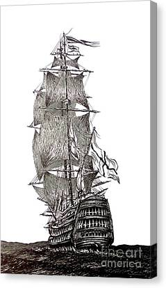 Pen And Ink Drawing Of Sail Ship In Black And White Canvas Print by Mario Perez