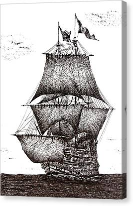 Pen And Ink Drawing Of Sailing Ship In Black And White Canvas Print by Mario Perez