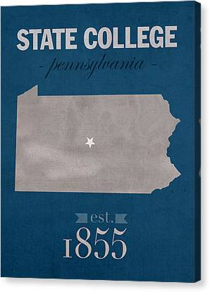 Penn State University Nittany Lions State College Pa College Town State Map Poster Series No 088 Canvas Print by Design Turnpike