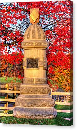 Pennsylvania At Gettysburg - 63rd Pa Volunteer Infantry - Sunrise Autumn Steinwehr Avenue Canvas Print by Michael Mazaika