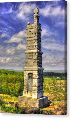 Pennsylvania At Gettysburg - 91st Pa Veteran Volunteer Infantry - Little Round Top Spring Canvas Print by Michael Mazaika