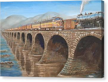 Pennsylvania Railroad On The Rockville Bridge Canvas Print by Christopher Jenkins