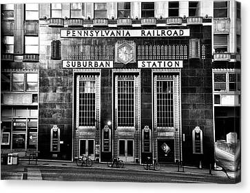 Pennsylvania Railroad Suburban Station In Black And White Canvas Print by Bill Cannon
