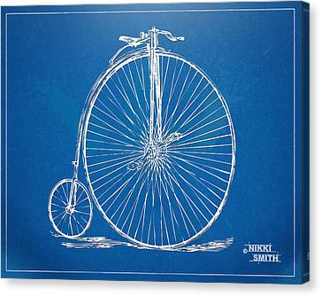 Penny-farthing 1867 High Wheeler Bicycle Blueprint Canvas Print by Nikki Marie Smith