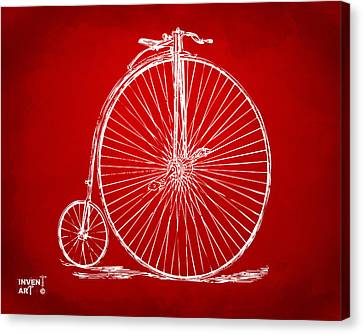 Penny-farthing 1867 High Wheeler Bicycle Patent Red Canvas Print by Nikki Marie Smith