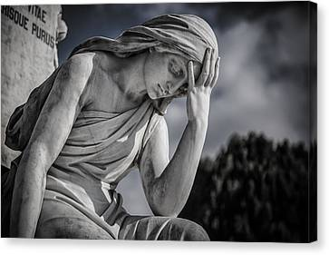Pensive Angel At Heredia Cemetery Canvas Print by Andres Leon