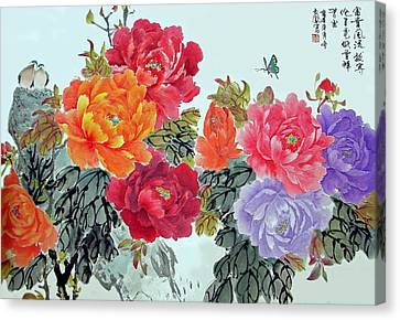 Peonies And Birds Canvas Print by Yufeng Wang