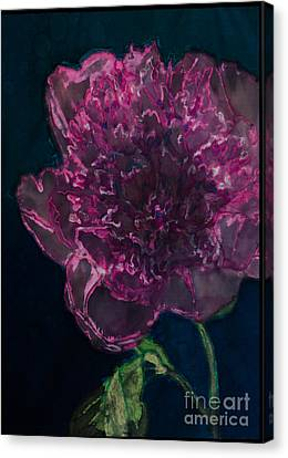 Peony On Black Canvas Print by Kathy Goodson