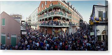 People Celebrating Mardi Gras Festival Canvas Print by Panoramic Images