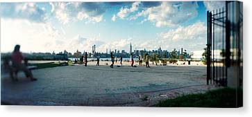 People In A Park, East River Park, East Canvas Print by Panoramic Images