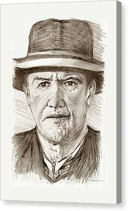 People Of Old West A Pencil Drawing In Black And White  Canvas Print by Mario Perez