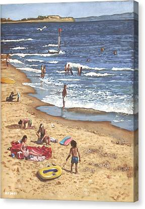 people on Bournemouth beach Blue Sea Canvas Print by Martin Davey