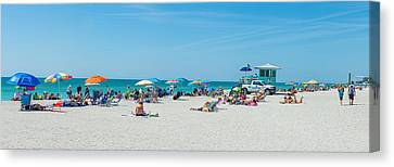 People On The Beach, Venice Beach, Gulf Canvas Print by Panoramic Images