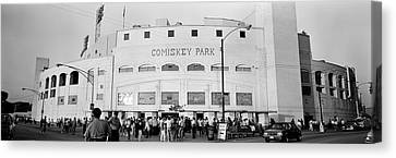People Outside A Baseball Park, Old Canvas Print by Panoramic Images