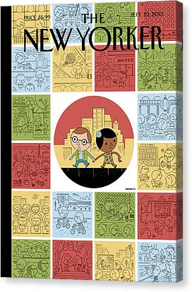 People Participate In Various Leisure Activities Canvas Print by Ivan Brunetti