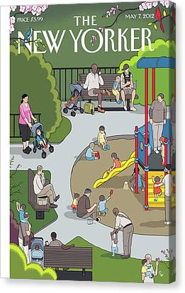 People Playing At A Playground Withtheir Kids Canvas Print by Chris Ware