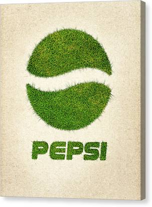 Pepsi Grass Logo Canvas Print by Aged Pixel