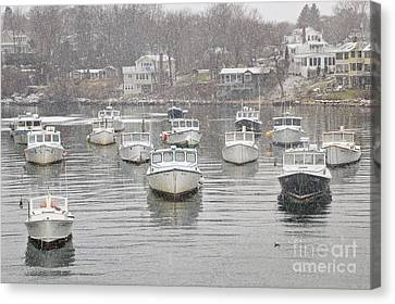 Perkins Cove Lobster Boats In Snow Canvas Print by Katherine Gendreau
